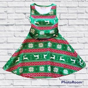Green Red White Christmas Holiday Party Dress with Black Belt XS